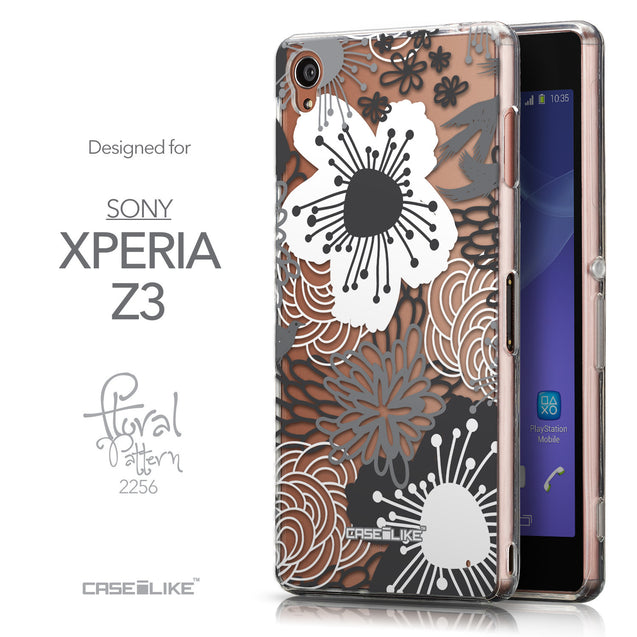 Front & Side View - CASEiLIKE Sony Xperia Z3 back cover Japanese Floral 2256