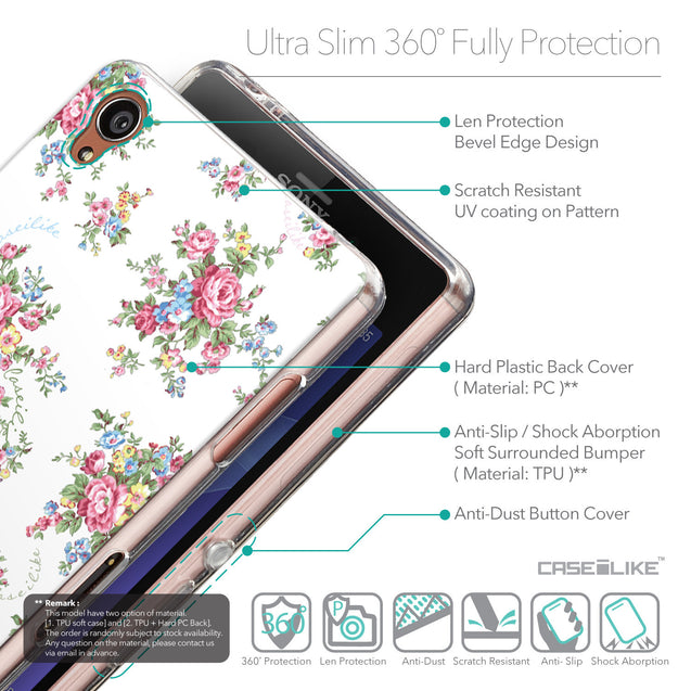 Details in English - CASEiLIKE Sony Xperia Z3 back cover Floral Rose Classic 2260