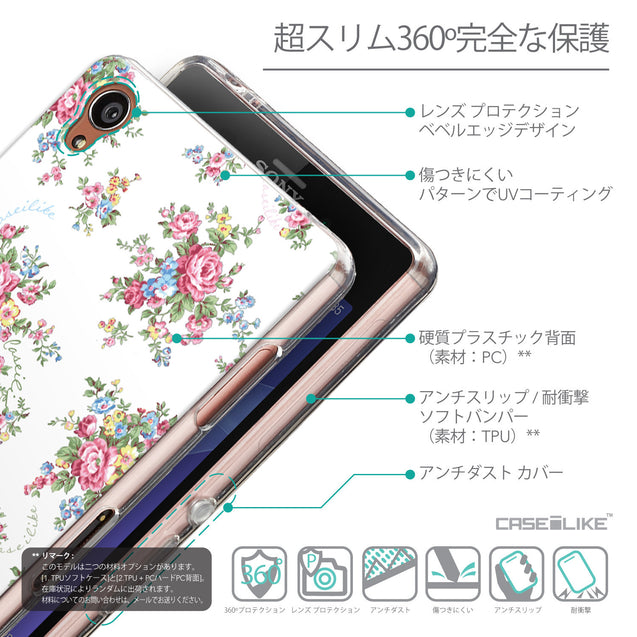 Details in Japanese - CASEiLIKE Sony Xperia Z3 back cover Floral Rose Classic 2260