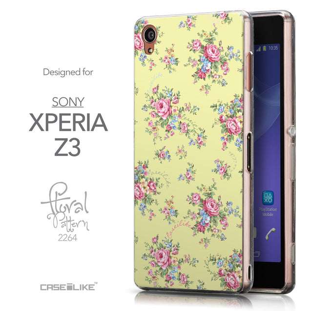 Front & Side View - CASEiLIKE Sony Xperia Z3 back cover Floral Rose Classic 2264