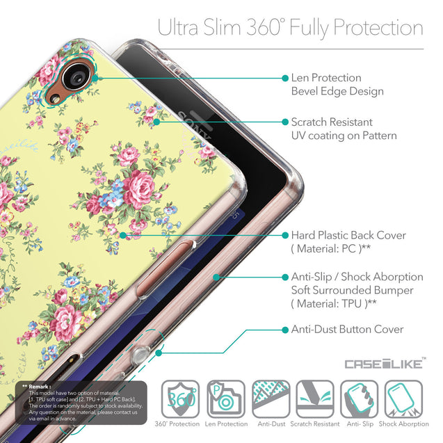 Details in English - CASEiLIKE Sony Xperia Z3 back cover Floral Rose Classic 2264