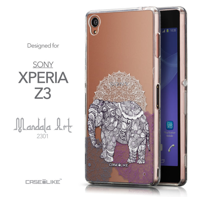 Front & Side View - CASEiLIKE Sony Xperia Z3 back cover Mandala Art 2301