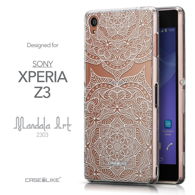 Front & Side View - CASEiLIKE Sony Xperia Z3 back cover Mandala Art 2303