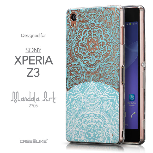 Front & Side View - CASEiLIKE Sony Xperia Z3 back cover Mandala Art 2306