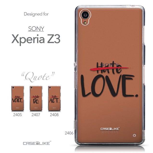 Collection - CASEiLIKE Sony Xperia Z3 back cover Quote 2406