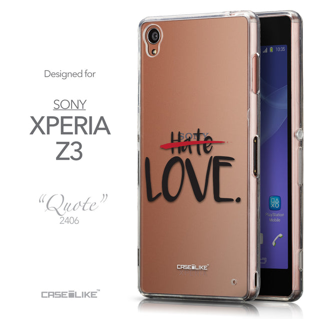 Front & Side View - CASEiLIKE Sony Xperia Z3 back cover Quote 2406