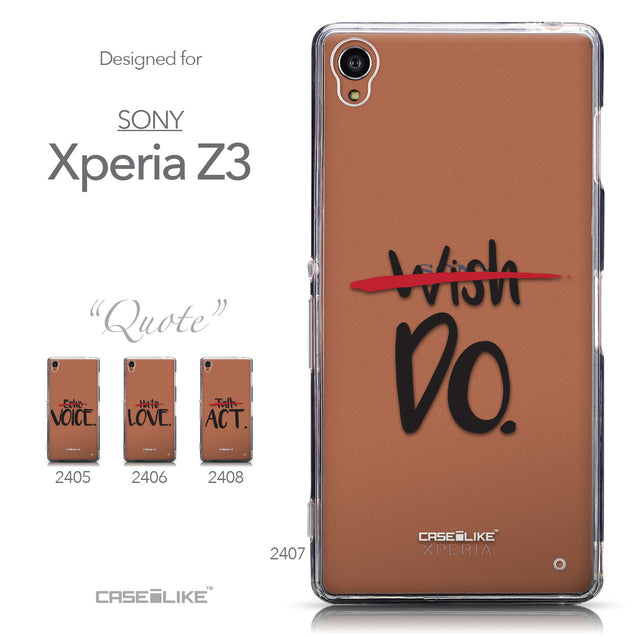 Collection - CASEiLIKE Sony Xperia Z3 back cover Quote 2407
