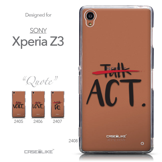 Collection - CASEiLIKE Sony Xperia Z3 back cover Quote 2408