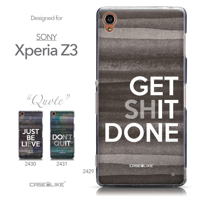 Collection - CASEiLIKE Sony Xperia Z3 back cover Quote 2429