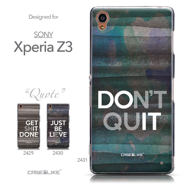 Collection - CASEiLIKE Sony Xperia Z3 back cover Quote 2431