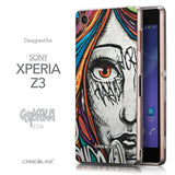 Front & Side View - CASEiLIKE Sony Xperia Z3 back cover Graffiti Girl 2724
