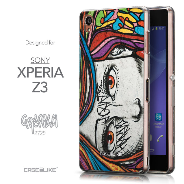 Front & Side View - CASEiLIKE Sony Xperia Z3 back cover Graffiti Girl 2725