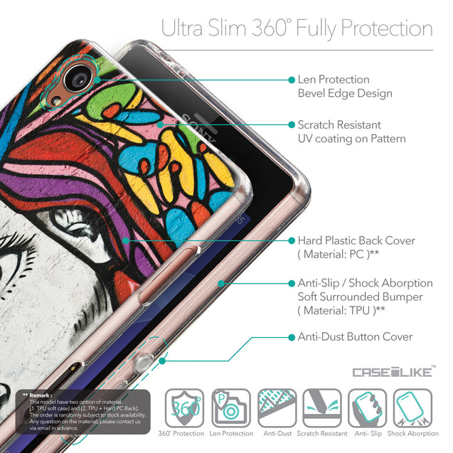 Details in English - CASEiLIKE Sony Xperia Z3 back cover Graffiti Girl 2725
