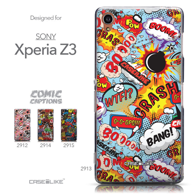 Collection - CASEiLIKE Sony Xperia Z3 back cover Comic Captions Blue 2913