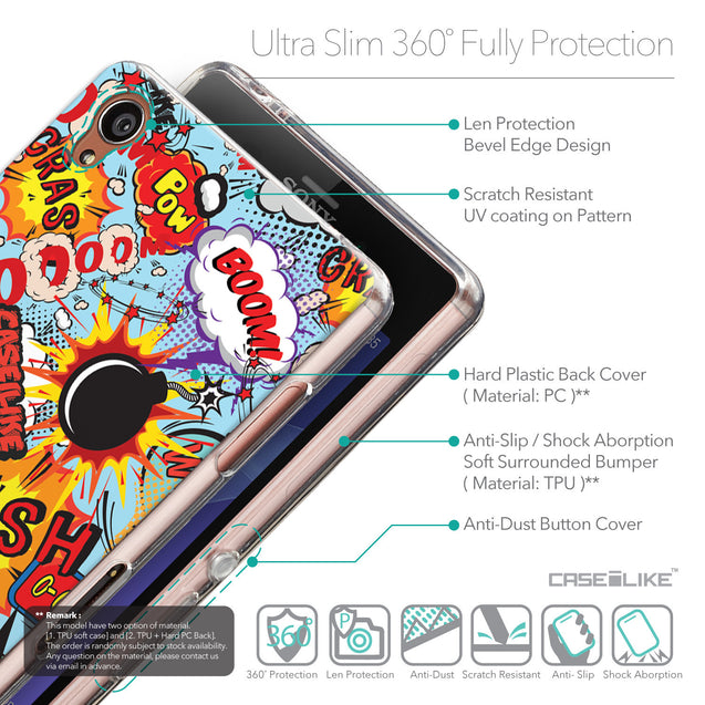 Details in English - CASEiLIKE Sony Xperia Z3 back cover Comic Captions Blue 2913