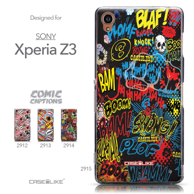 Collection - CASEiLIKE Sony Xperia Z3 back cover Comic Captions Black 2915