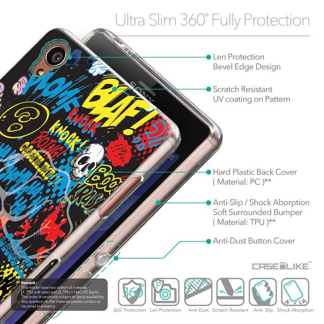 Details in English - CASEiLIKE Sony Xperia Z3 back cover Comic Captions Black 2915