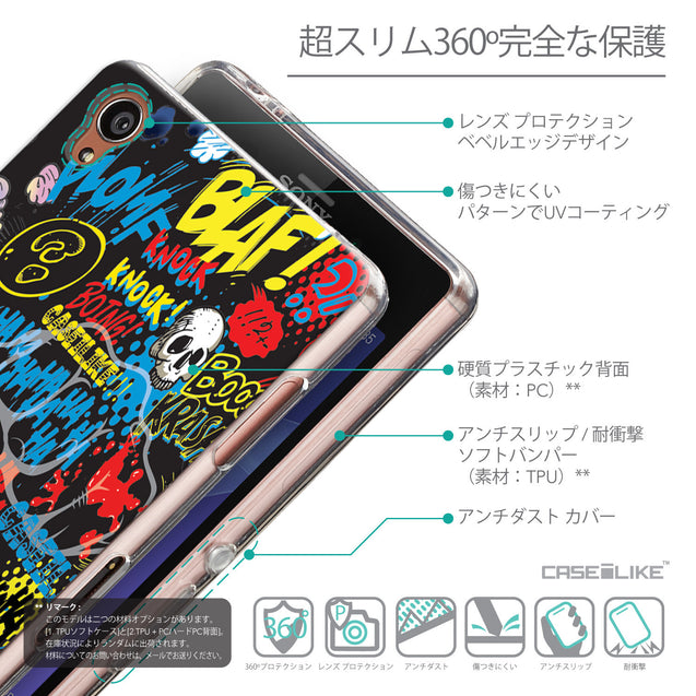 Details in Japanese - CASEiLIKE Sony Xperia Z3 back cover Comic Captions Black 2915
