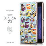 Front & Side View - CASEiLIKE Sony Xperia Z3 back cover Owl Graphic Design 3312