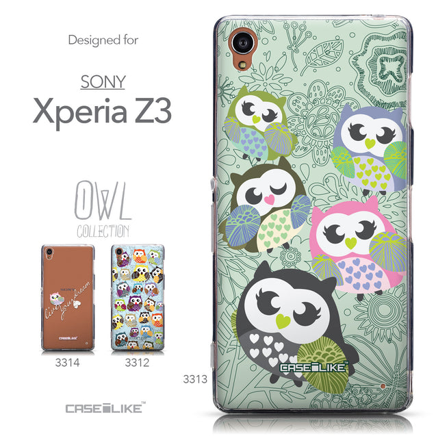 Collection - CASEiLIKE Sony Xperia Z3 back cover Owl Graphic Design 3313