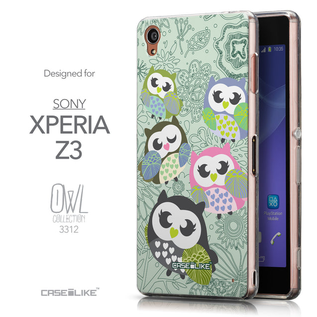 Front & Side View - CASEiLIKE Sony Xperia Z3 back cover Owl Graphic Design 3313