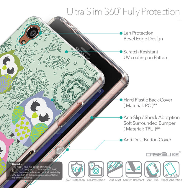 Details in English - CASEiLIKE Sony Xperia Z3 back cover Owl Graphic Design 3313