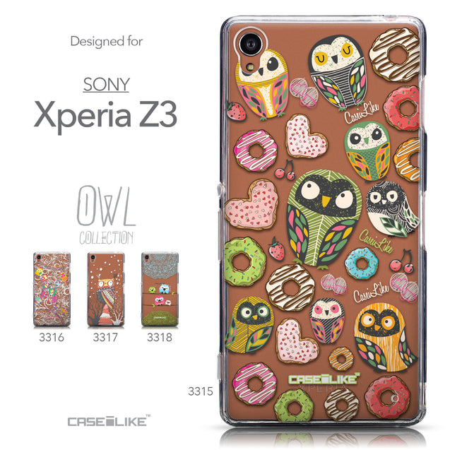Collection - CASEiLIKE Sony Xperia Z3 back cover Owl Graphic Design 3315