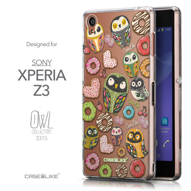Front & Side View - CASEiLIKE Sony Xperia Z3 back cover Owl Graphic Design 3315
