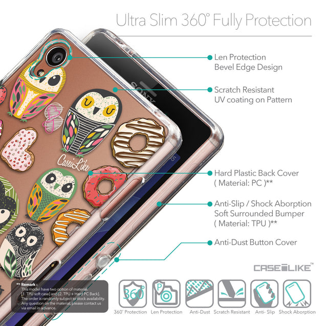 Details in English - CASEiLIKE Sony Xperia Z3 back cover Owl Graphic Design 3315