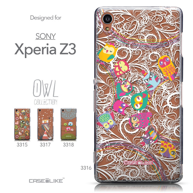 Collection - CASEiLIKE Sony Xperia Z3 back cover Owl Graphic Design 3316