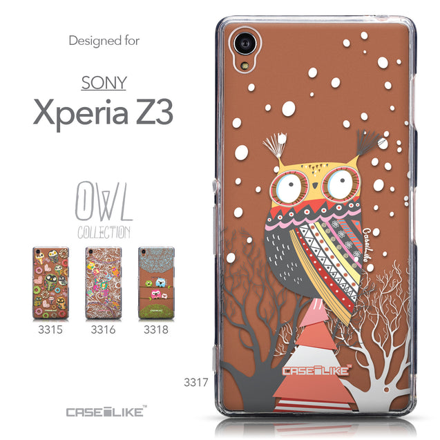Collection - CASEiLIKE Sony Xperia Z3 back cover Owl Graphic Design 3317