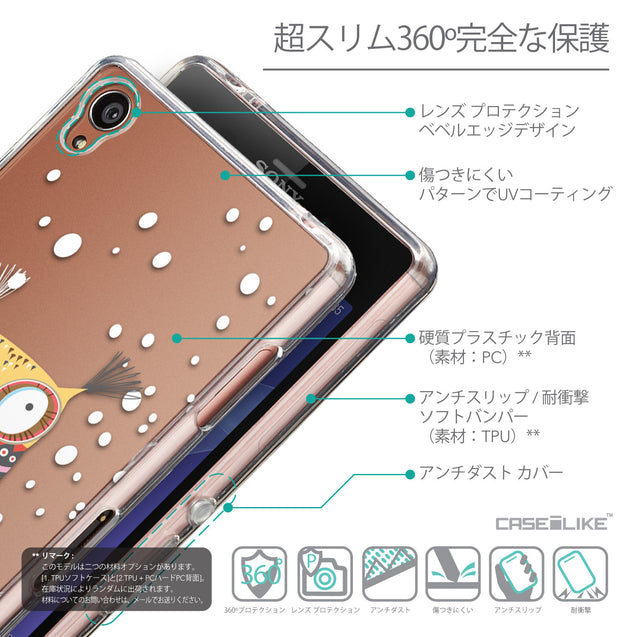 Details in Japanese - CASEiLIKE Sony Xperia Z3 back cover Owl Graphic Design 3317