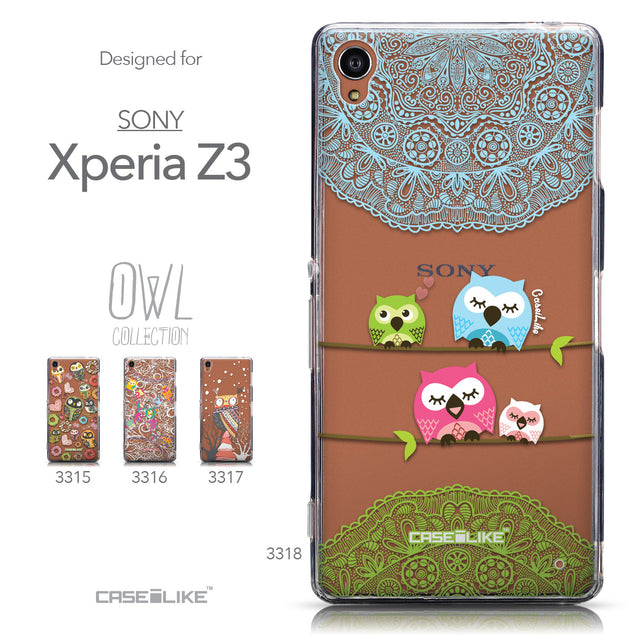 Collection - CASEiLIKE Sony Xperia Z3 back cover Owl Graphic Design 3318