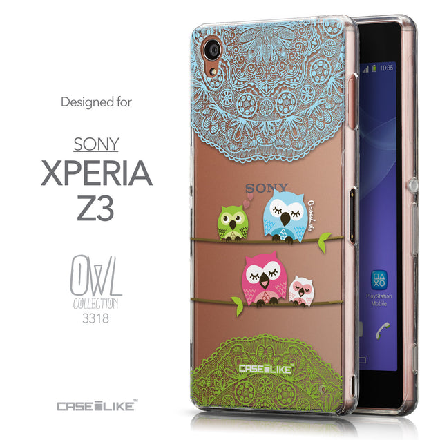 Front & Side View - CASEiLIKE Sony Xperia Z3 back cover Owl Graphic Design 3318