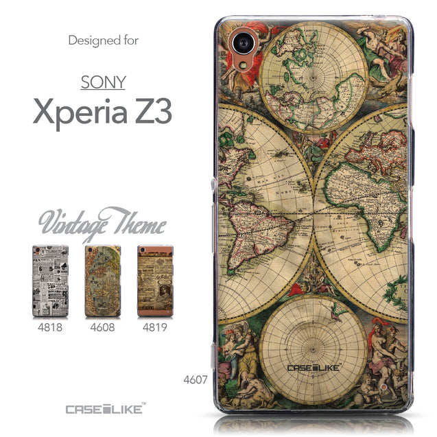 Collection - CASEiLIKE Sony Xperia Z3 back cover World Map Vintage 4607