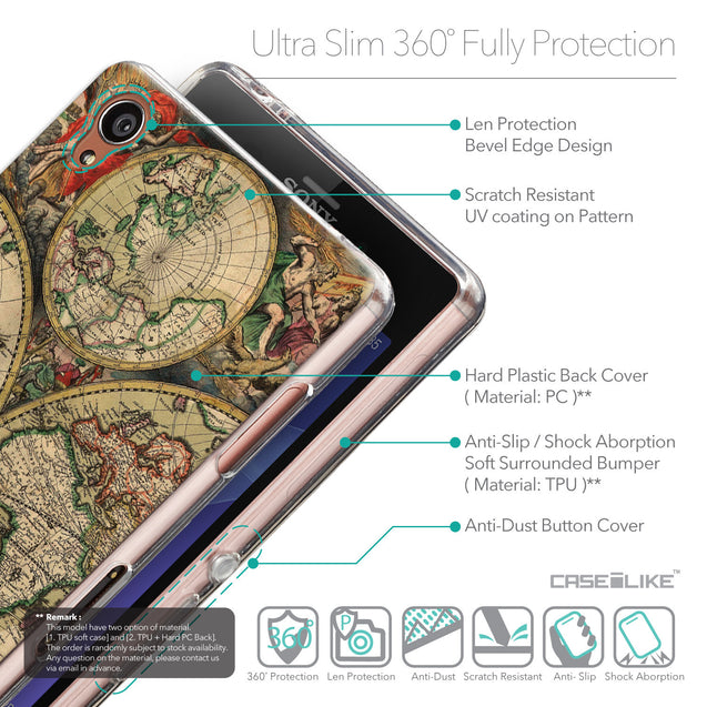 Details in English - CASEiLIKE Sony Xperia Z3 back cover World Map Vintage 4607