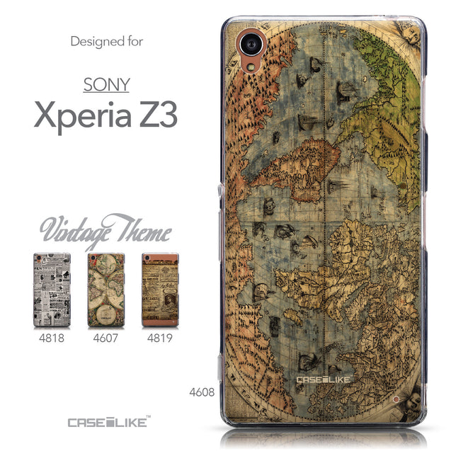 Collection - CASEiLIKE Sony Xperia Z3 back cover World Map Vintage 4608