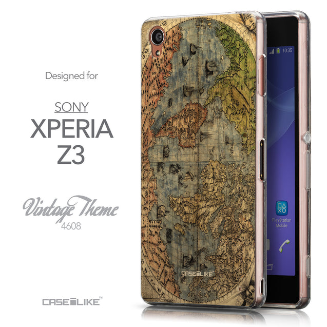 Front & Side View - CASEiLIKE Sony Xperia Z3 back cover World Map Vintage 4608
