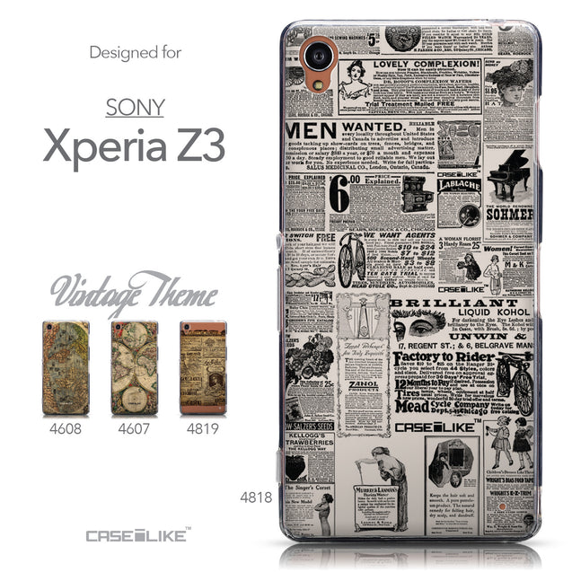 Collection - CASEiLIKE Sony Xperia Z3 back cover Vintage Newspaper Advertising 4818