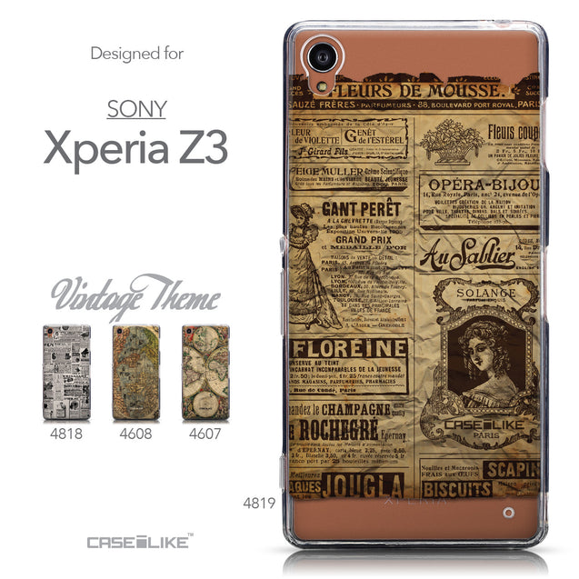 Collection - CASEiLIKE Sony Xperia Z3 back cover Vintage Newspaper Advertising 4819