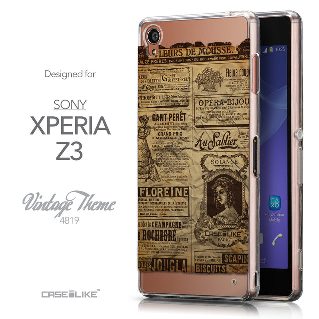 Front & Side View - CASEiLIKE Sony Xperia Z3 back cover Vintage Newspaper Advertising 4819