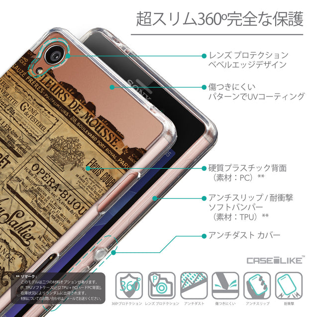 Details in Japanese - CASEiLIKE Sony Xperia Z3 back cover Vintage Newspaper Advertising 4819