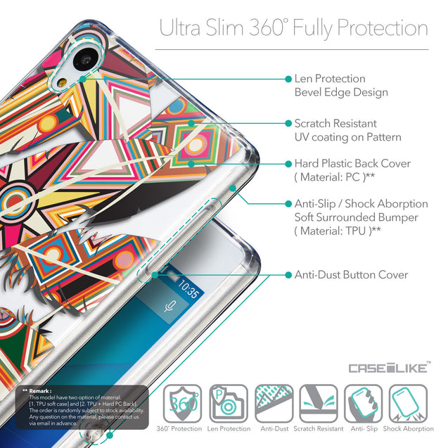 Details in English - CASEiLIKE Sony Xperia Z3 Plus back cover Indian Tribal Theme Pattern 2054