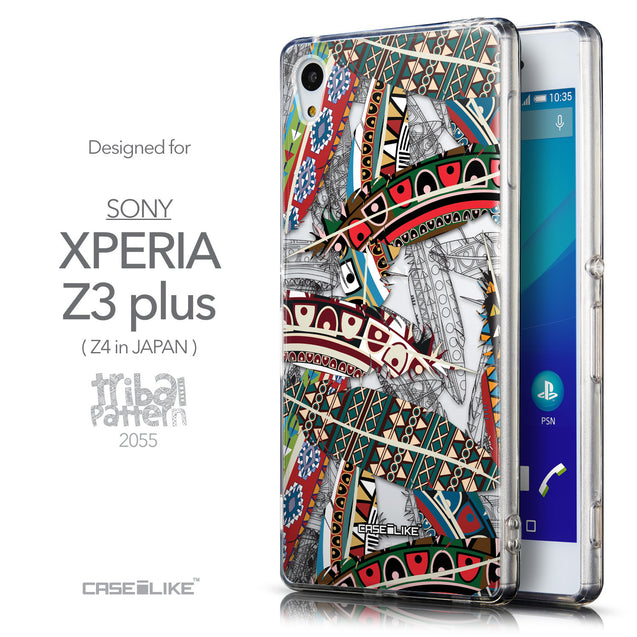 Front & Side View - CASEiLIKE Sony Xperia Z3 Plus back cover Indian Tribal Theme Pattern 2055