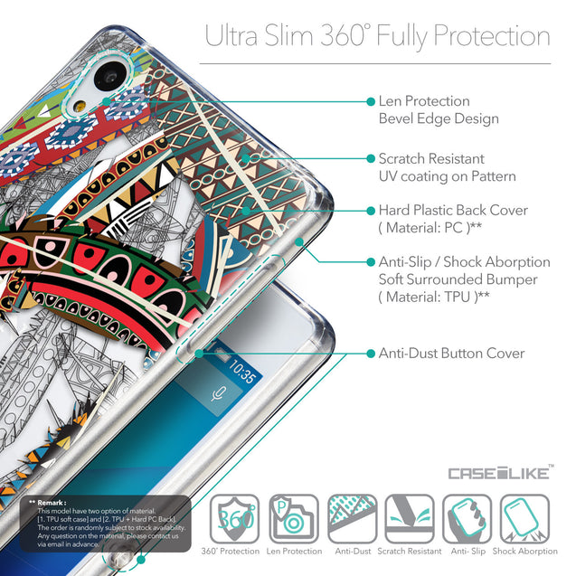 Details in English - CASEiLIKE Sony Xperia Z3 Plus back cover Indian Tribal Theme Pattern 2055
