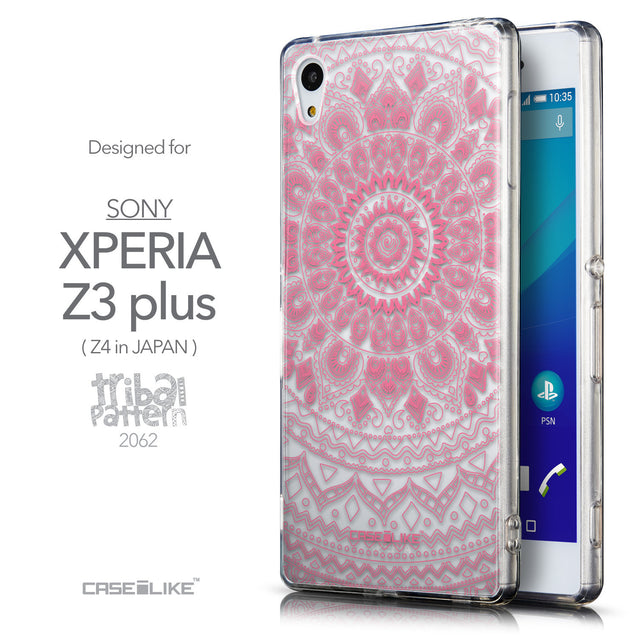 Front & Side View - CASEiLIKE Sony Xperia Z3 Plus back cover Indian Line Art 2062