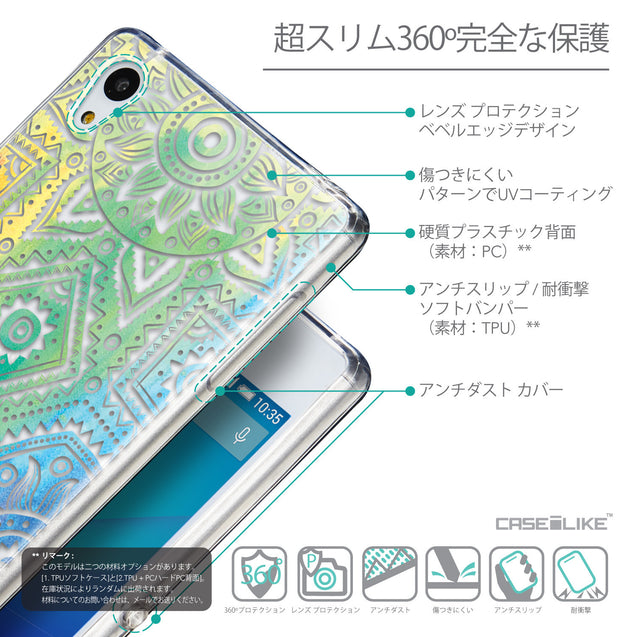Details in Japanese - CASEiLIKE Sony Xperia Z3 Plus back cover Indian Line Art 2064