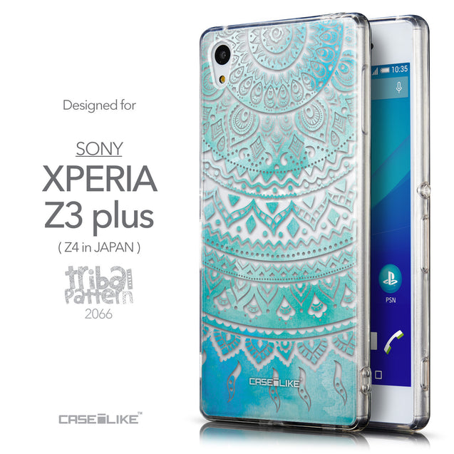 Front & Side View - CASEiLIKE Sony Xperia Z3 Plus back cover Indian Line Art 2066