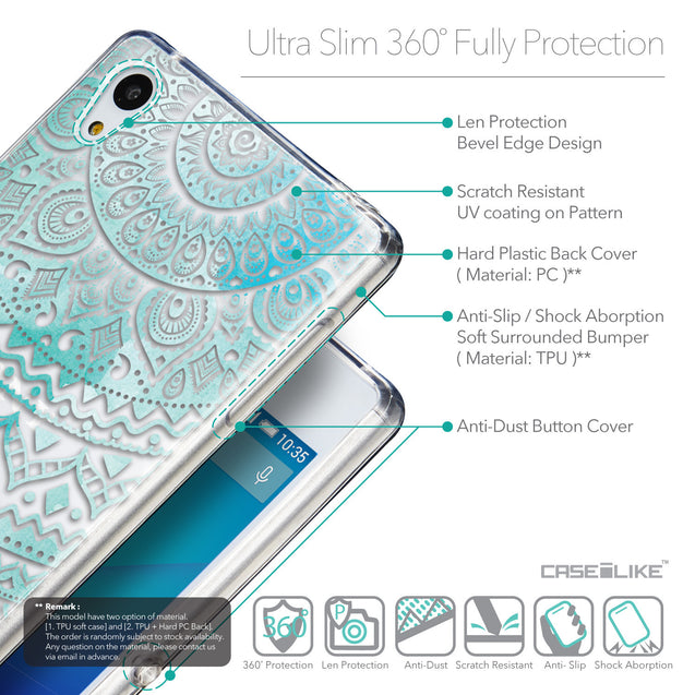 Details in English - CASEiLIKE Sony Xperia Z3 Plus back cover Indian Line Art 2066