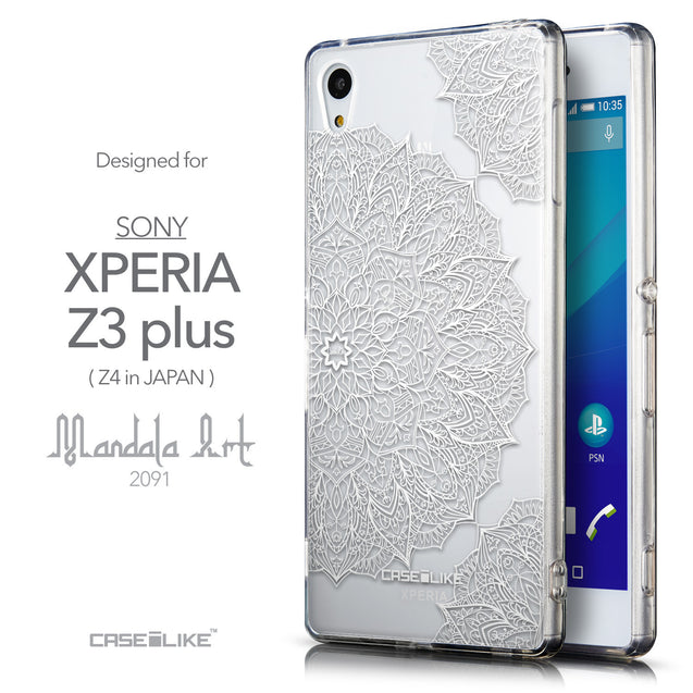 Front & Side View - CASEiLIKE Sony Xperia Z3 Plus back cover Mandala Art 2091